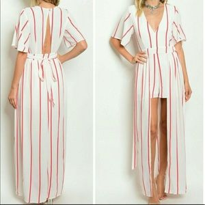 Red and white striped maxi romper